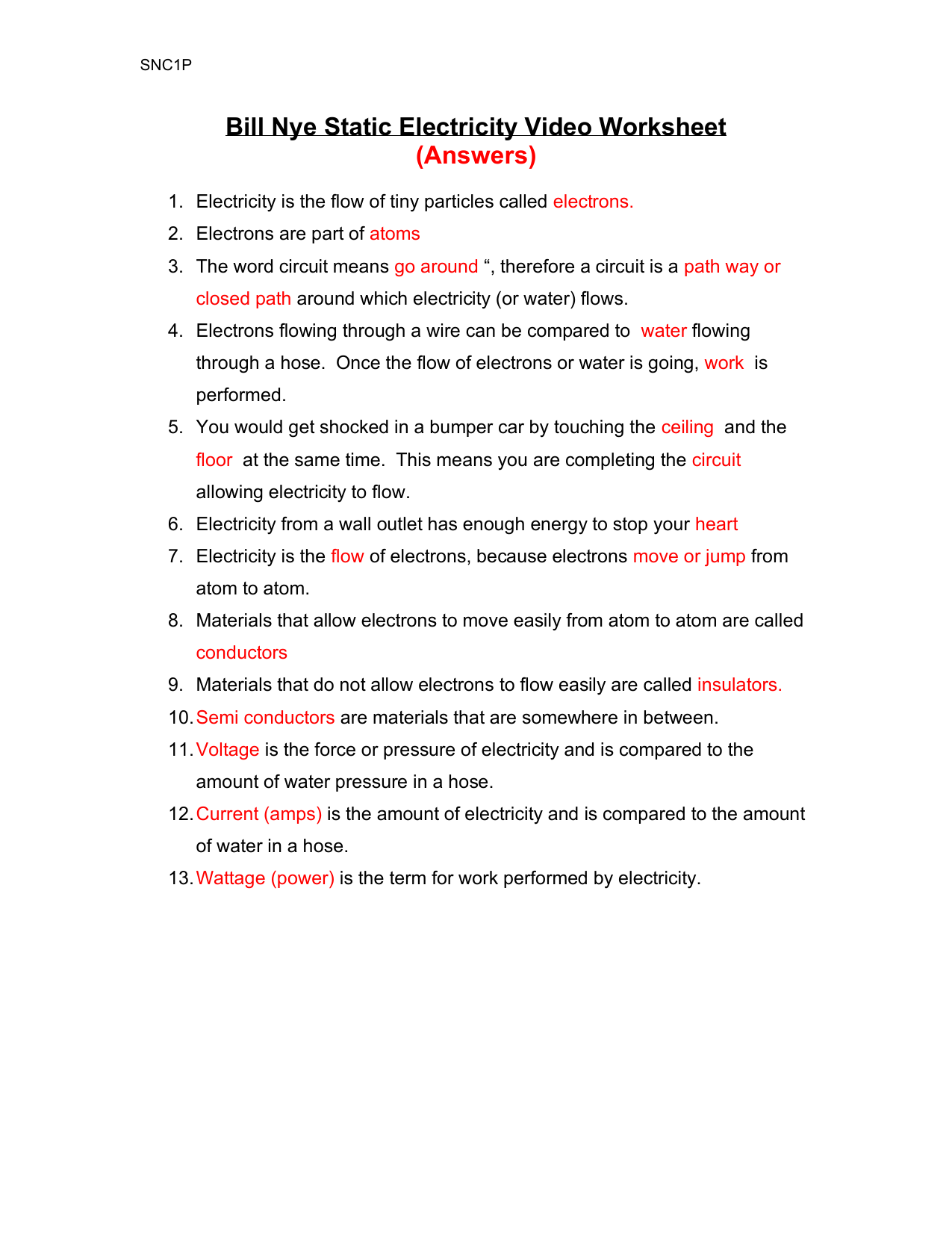 Static Electricity Bill Nye-ANSWERS In Bill Nye Atoms Worksheet