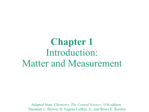Chapter 1; Introduction Matter & Measurement  Part 1