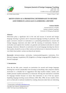 MOTIVATION AS A PROMOTING DETERMINANT IN SECOND AND FOREIGN LANGUAGE CLASSROOM: A REVIEW