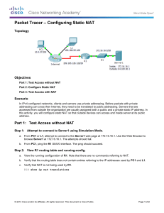 11.2.1.4 Packet Tracer - Configuring Static NAT Instructions