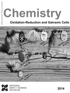 Electrochemistry Oxidation-Reduction and Galvanic Cells Student