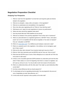 Negotiation Preparation Checklist