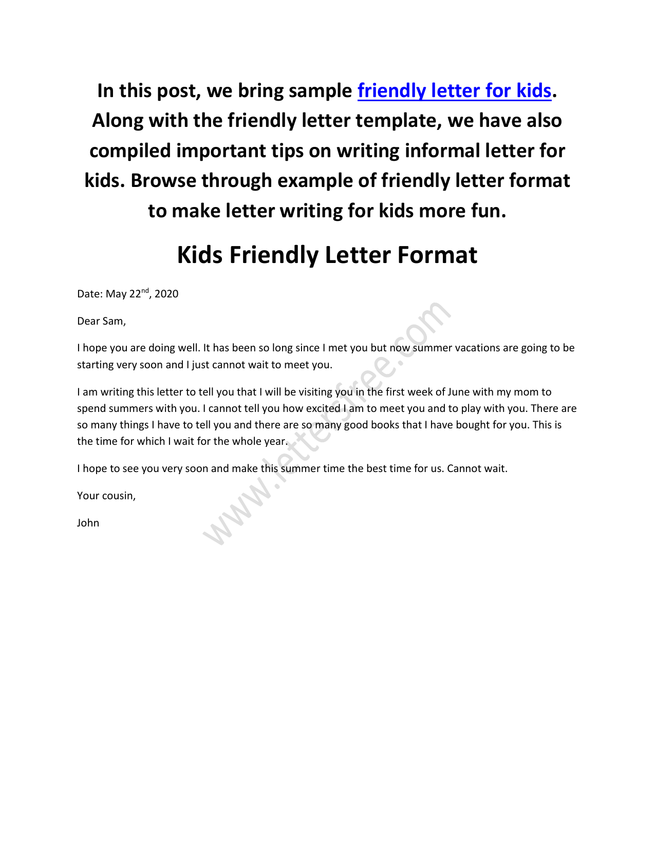 Friendly Letter Format Example from s3.studylib.net