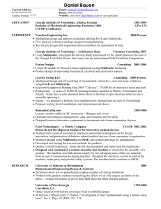 Daniel Bauen Resume - Mechanical Engineer