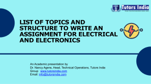 List of Topics and the Structure to write an Assignment for Electrical and Electronics- Tutors India