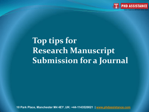 Top Tips for Research Manuscript Submission for a Journal - phdassistance.com