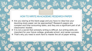 How To Write An Academic Research Paper
