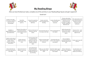 Reading Bingo Tasks