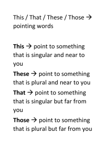 Pointing words explaination