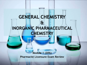General Chemistry and Inorganic Pharmaceutical Chemistry Module 1