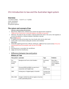 Ch1 Introduction to law and the Australian legal system