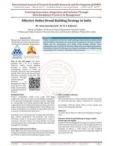 Effective Online Brand Building Strategy in India