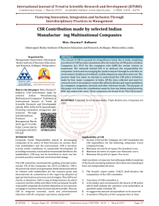CSR Contribution made by selected Indian Manufacturing Multinational Companies