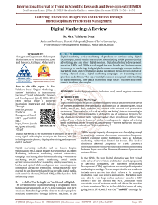 Digital Marketing A Review