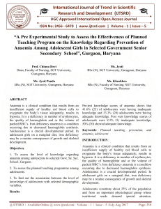 """A Pre Experimental Study to Assess the Effectiveness of Planned Teaching Program on the Knowledge Regarding Prevention of Anaemia Among Adolescent Girls in Selected Government Senior Secondary School"""