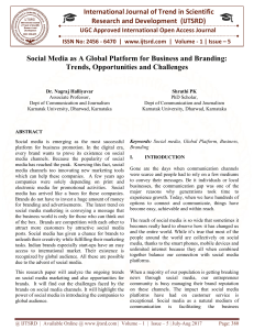 59 Social Media As A Global Platform For Business and Branding Trends, Opportunities and Challenges