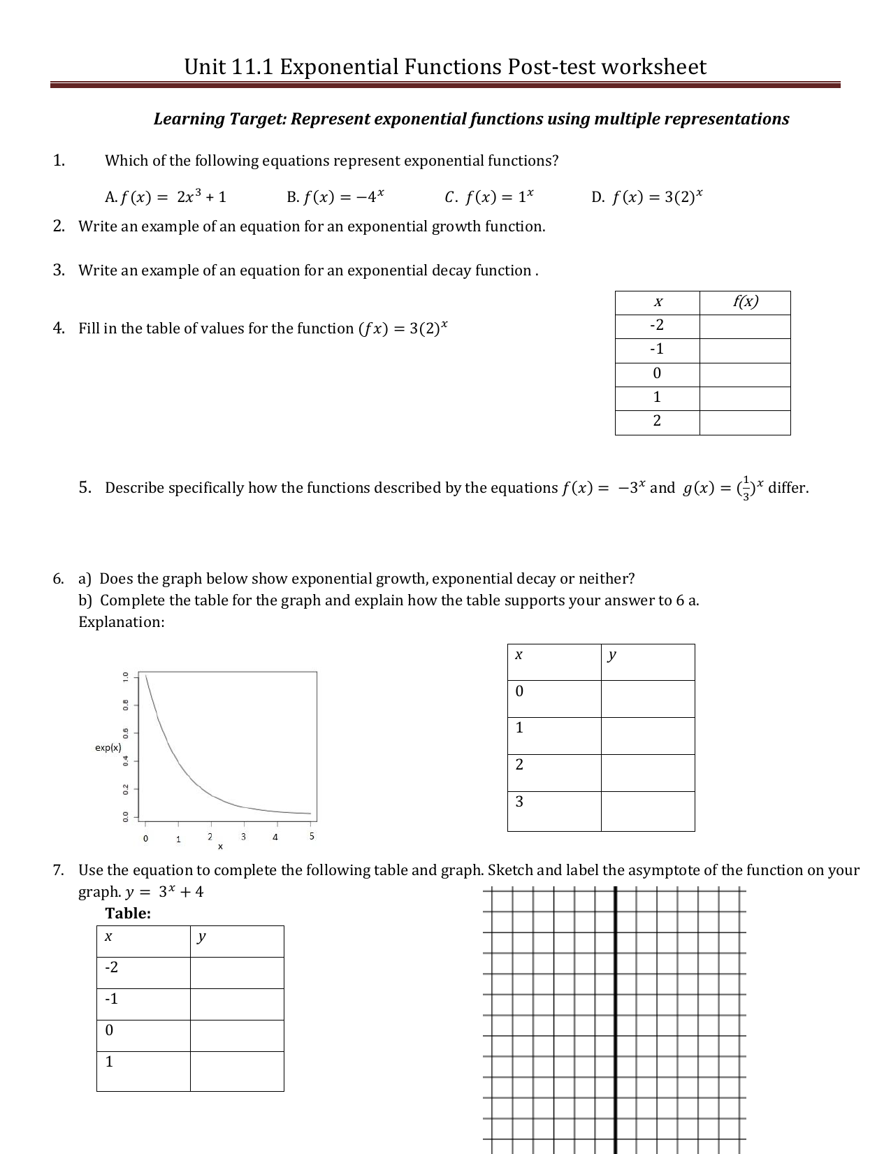 Unit 11 1 Post test Worksheet Exponential Functions