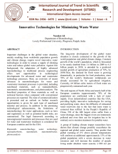 Innovative Technologies for Minimizing Waste Water