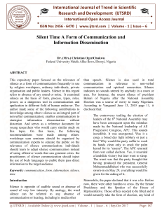 Silent Time A Form of Communication and Information Dissemination
