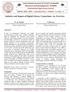 Initiative and Impact of Digital Library Consortium An Overview