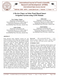 A Review Paper on Solar Panel Based Smart Irrigation System using GSM Module
