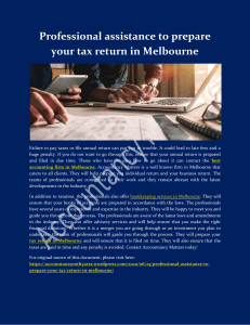 Professional assistance to prepare your tax return in Melbourne