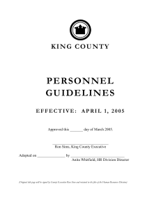 King County Personnel Guidelines