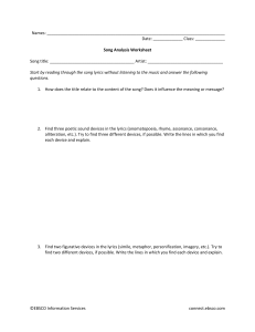 Poetry song analysis worksheet