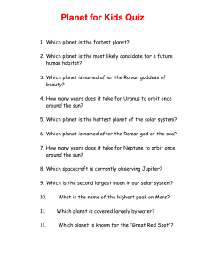 Planets for kids quiz