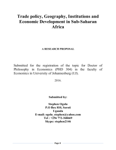 Trade Policy, Geography, Institutions and Economic Development in Sub-Saharan Africa