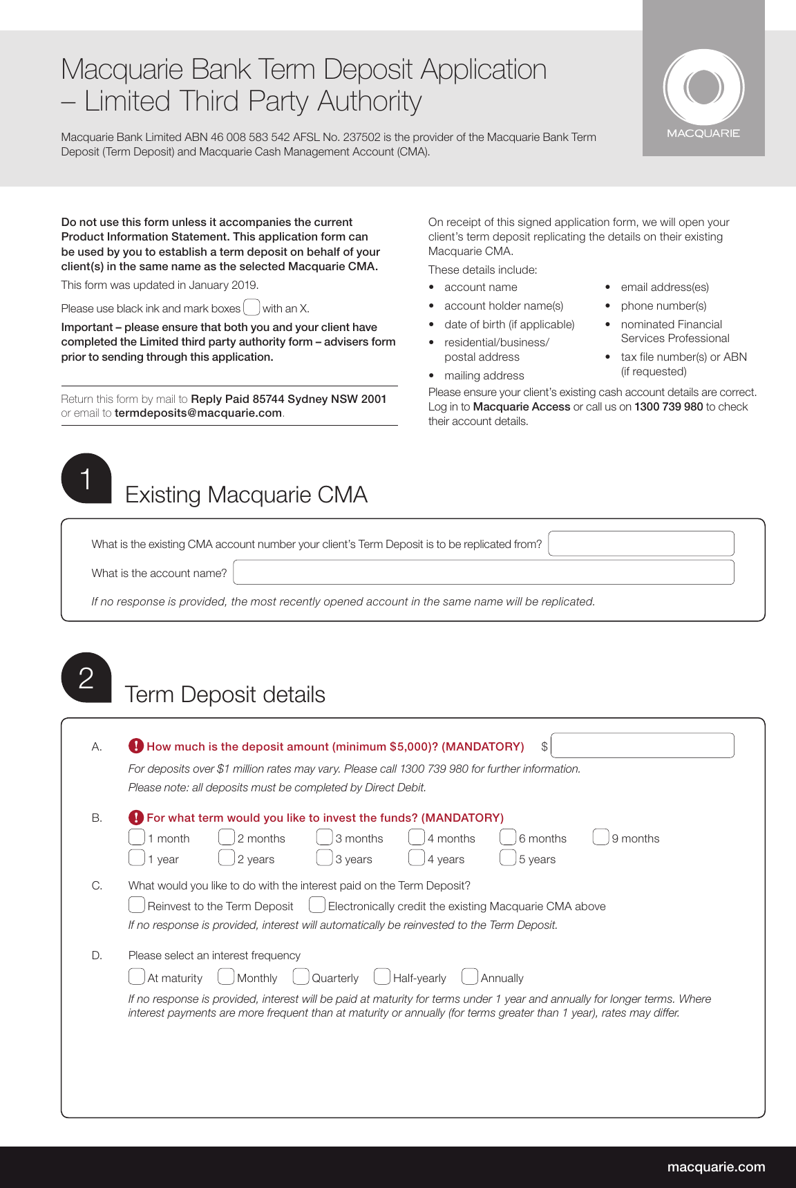 macquarie bank term deposit application form