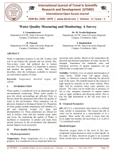 Water Quality Measuring and Monitoring A Survey