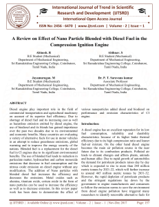 A Review on Effect of Nano Particle Blended with Diesel Fuel in the Compression Ignition Engine