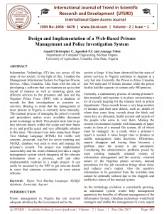 Design and Implementation of a Web Based Prisons Management and Police Investigation System