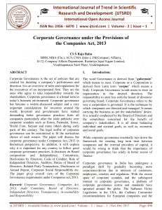 Corporate Governance under the Provisions of the Companies Act, 2013