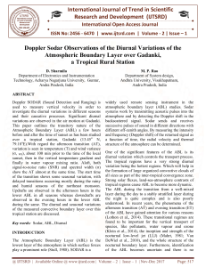 81 Doppler Sodar Observations of the Diurnal Variations of the Atmospheric Boundary Layer Over Gadanki A Tropical Rural Station