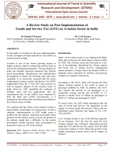 A Review Study on Post Implementation of Goods and Service Tax GST on Aviation Sector in India