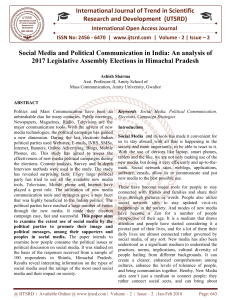 Social Media and Political Communication in India An analysis of 2017 Legislative Assembly Elections in Himachal Pradesh