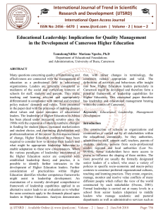 Educational Leadership Implications for Quality Management in the Development of Cameroon Higher Education