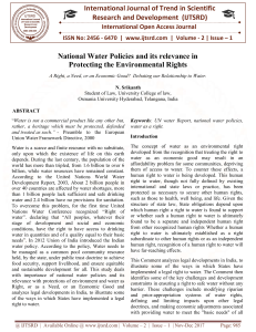 National Water Policies and its relevance in Protecting the Environmental Rights