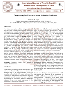 Community health concern and behavioral sciences