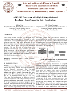 A DC-DC Converter with High Voltage Gain and Two Input Boost Stages for Solar Applications