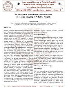 An Assessment of Problems and Preferences in Medical Imaging of Pediatric Patients