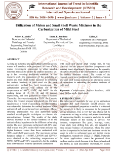 Utilization of Melon and Snail Shell Waste Mixtures in the Carburization of Mild Steel