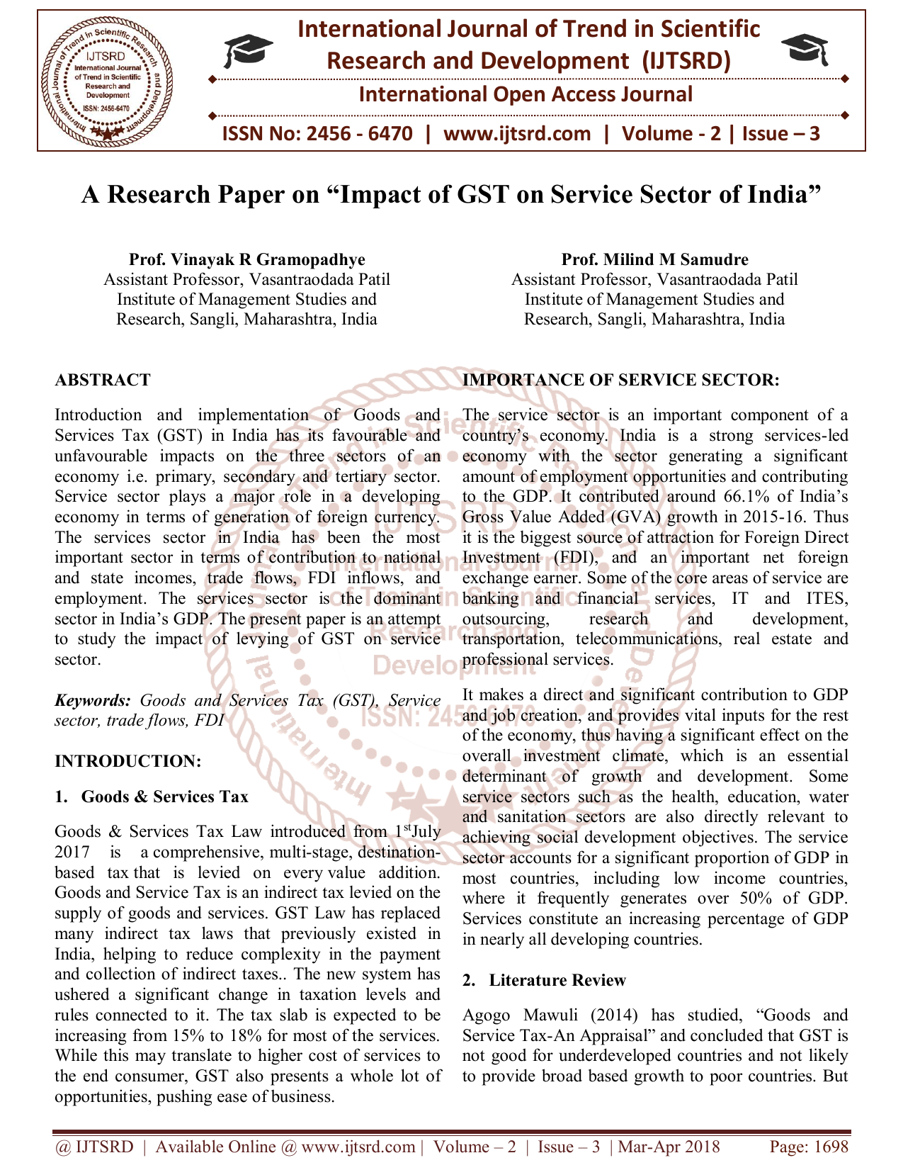Research paper on service sector