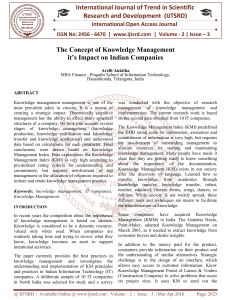 The Concept of Knowledge Management it's Impact on Indian Companies