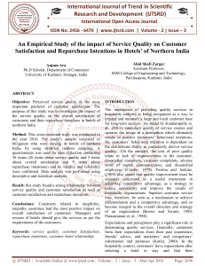 An Empirical Study of the impact of Service Quality on Customer Satisfaction and Repurchase Intentions in Hotels of Northern India