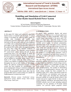 Modelling and Simulation of Grid Connected Solar Hydro based Hybrid Power System