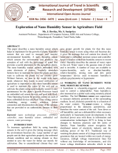 320 Exploration Of Nano Humidity Sensor In Agriculture Field