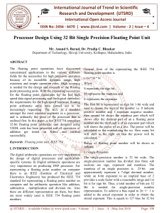 Processor Design Using 32 Bit Single Precision Floating Point Unit